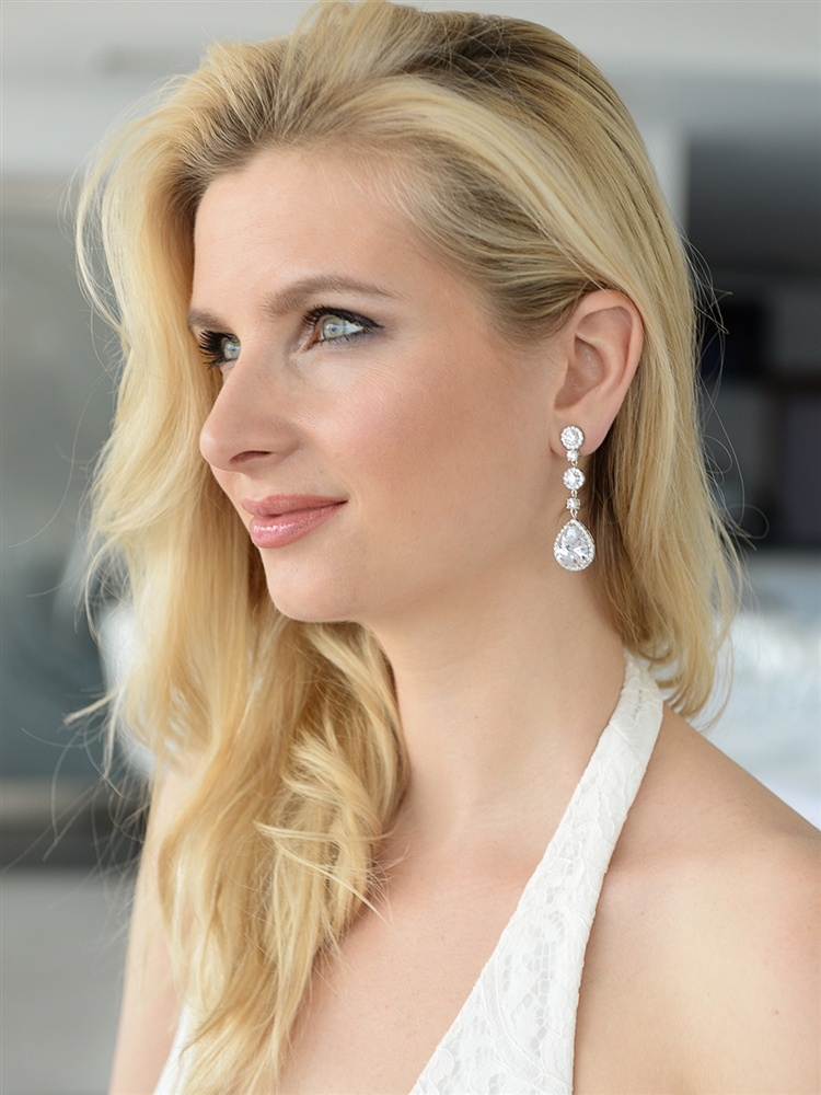 Best-selling Pear-shaped Drop Bridal Earrings With Pave Cz