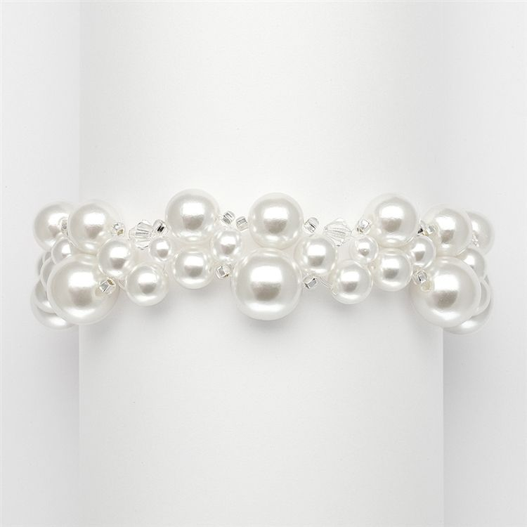 Crystal & Pearl Bubbles Bridal Bracelet - Ivory