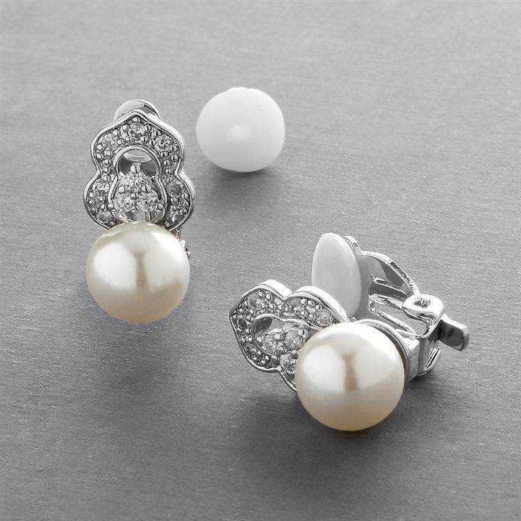 Cubic Zirconia & Soft Cream Pearl Clip-On Wedding Earrings