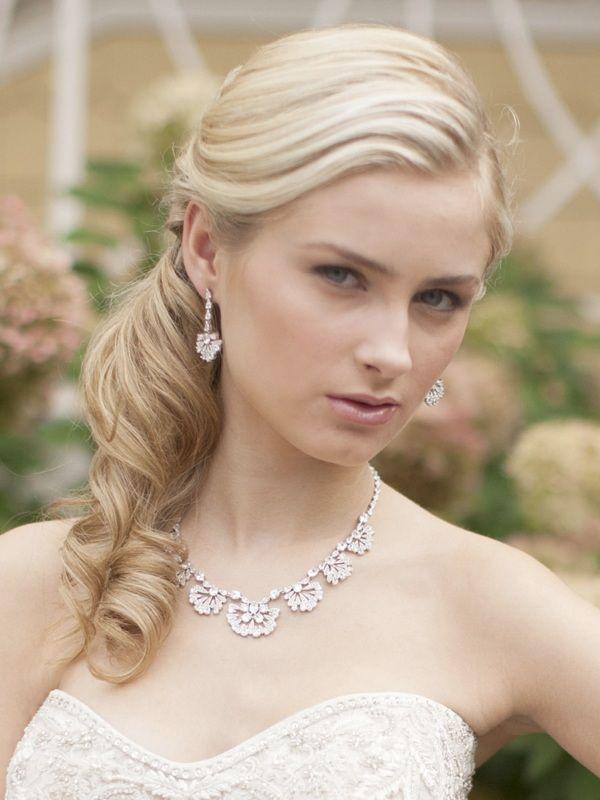 "Art Deco ""fan"" Design Cubic Zirconia Wedding Necklace"