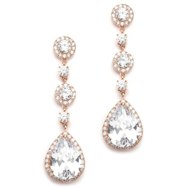 Best-Selling Rose Gold Bridal Earrings With Pear-Shaped Cz Drop - Clip On