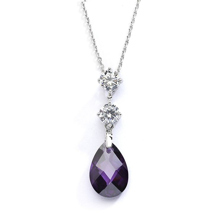 Cz Bridal Or Bridesmaids Necklace Pendant With Amethyst Crystal Drop