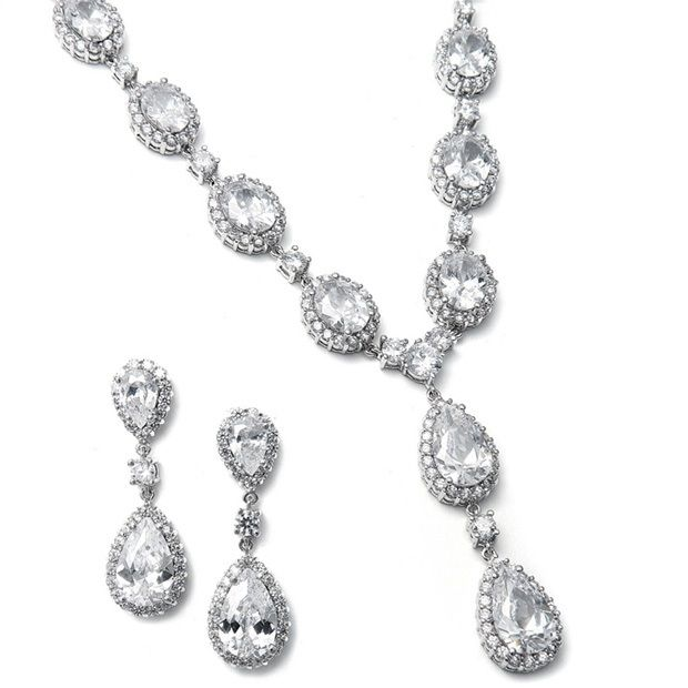 Bridal Necklace Set With Bold Cz Pears And Ovals