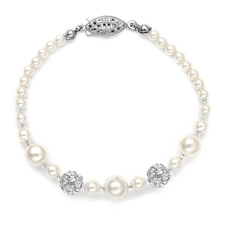 Dainty Wedding Bracelet With Pearls & Rhinestone Fireballs - Ivory