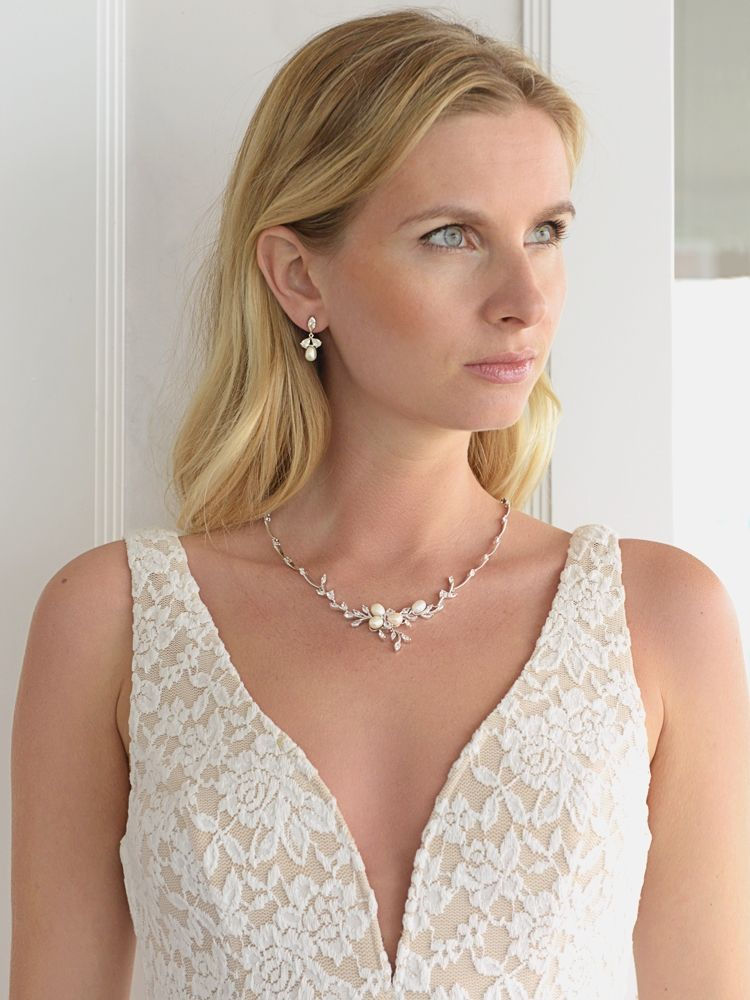 Genuine Freshwater Pearls And Cz Leaves Statement Necklace And Earrings Set