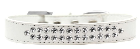 Two Row Clear Crystal Size 16 White Dog Collar