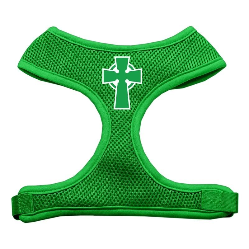 Celtic Cross Screen Print Soft Mesh Pet Harness Emerald Green Medium