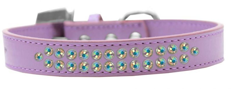 Two Row Ab Crystal Size 14 Lavender Dog Collar