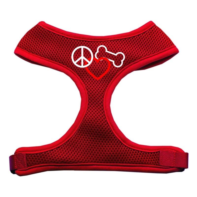 Peace, Love, Bone Design Soft Mesh Pet Harness Red Large