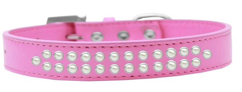 Two Row Pearl Size 18 Bright Pink Dog Collar