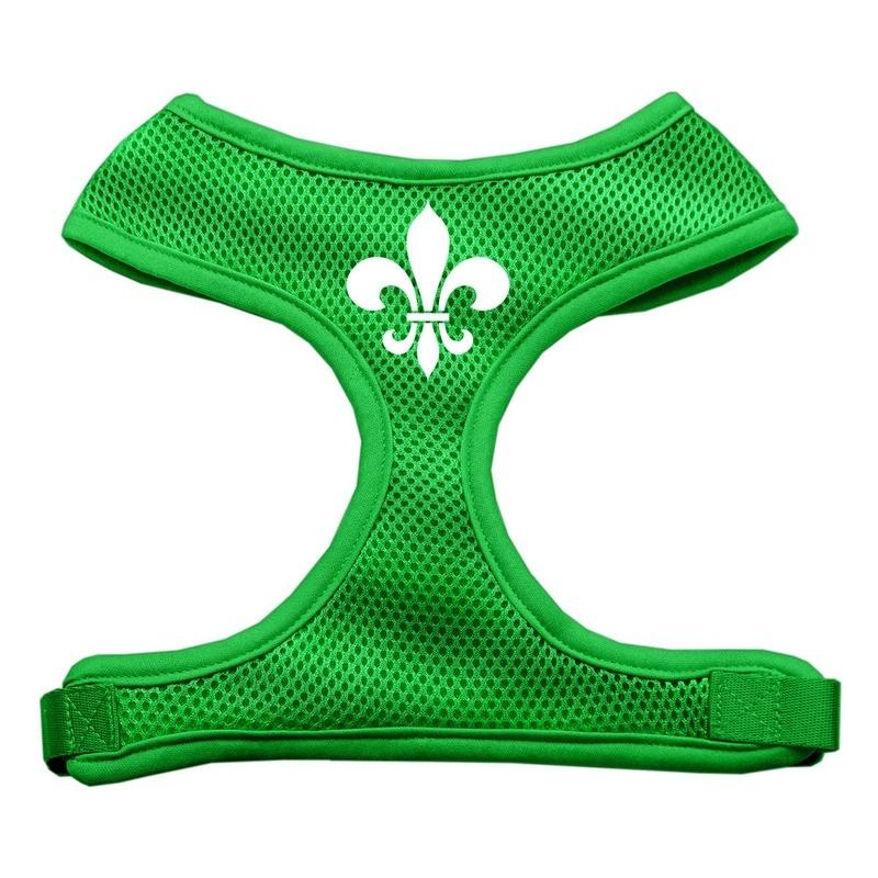 Fleur De Lis Design Soft Mesh Pet Harness Emerald Green Medium