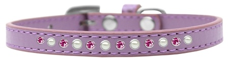 Pearl And Pink Crystal Size 14 Lavender Puppy Collar