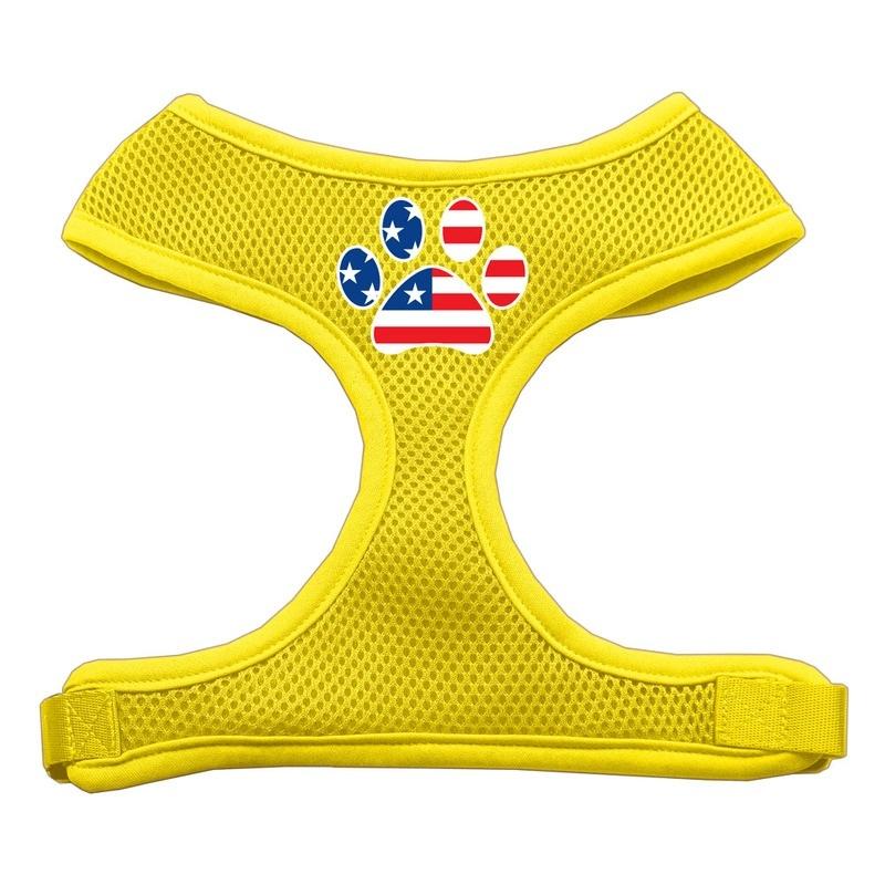 Paw Flag Usa Screen Print Soft Mesh Pet Harness Yellow Large