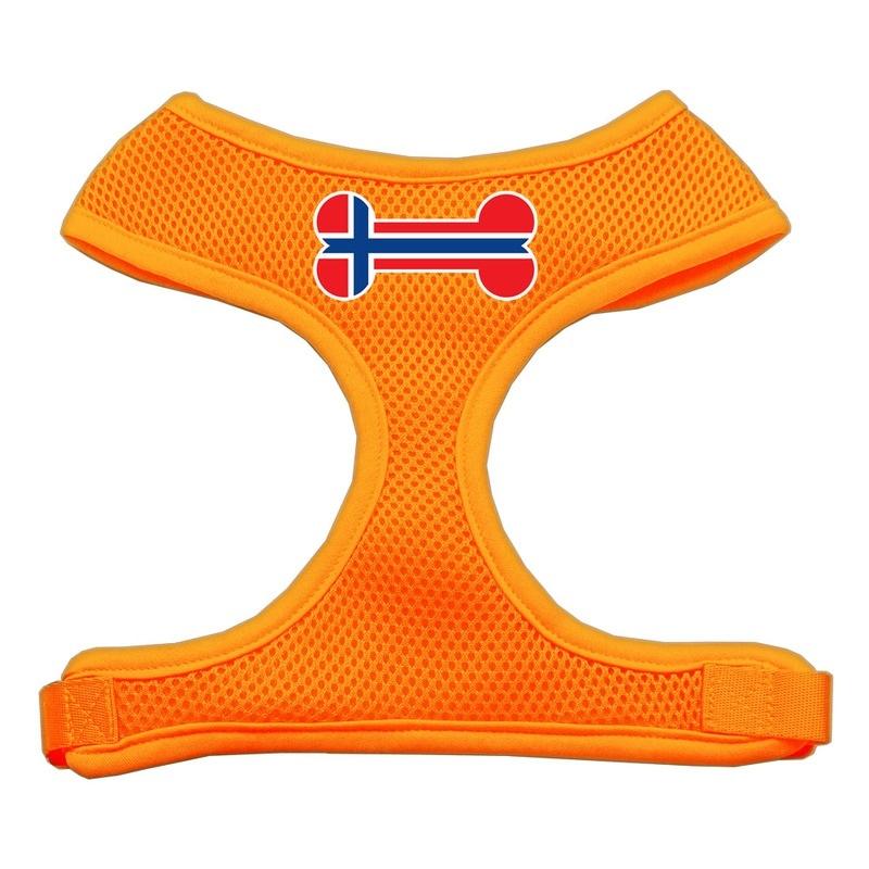 Bone Flag Norway Screen Print Soft Mesh Pet Harness Orange Extra Large