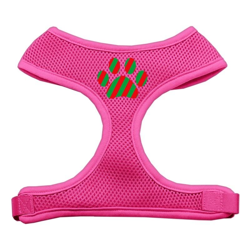 Christmas Paw Screen Print Soft Mesh Pet Harness Pink Small