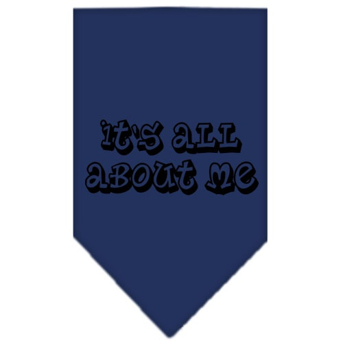 It's All About Me Screen Print Bandana Navy Blue Large