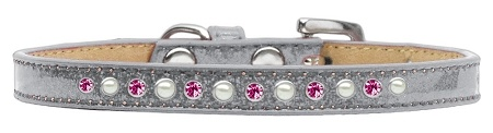 Pearl And Pink Crystal Size 8 Silver Puppy Ice Cream Collar