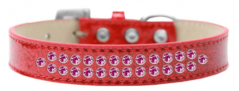 Two Row Bright Pink Crystal Size 12 Red Ice Cream Dog Collar
