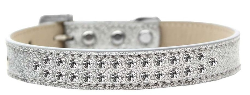 Two Row Clear Crystal Size 18 Silver Ice Cream Dog Collar