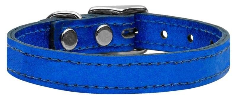 Plain Metallic Leather Dog Collar Blue 18