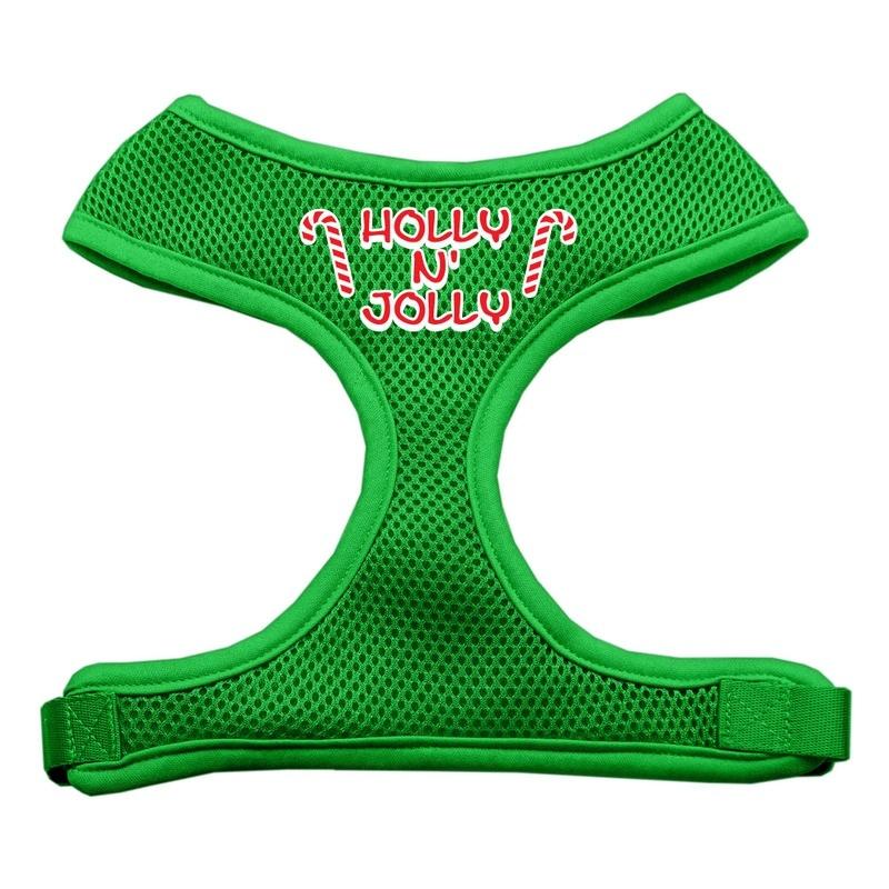 Holly N Jolly Screen Print Soft Mesh Pet Harness Emerald Green Large