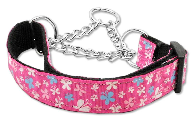 Butterfly Nylon Ribbon Collar Martingale Pink Large