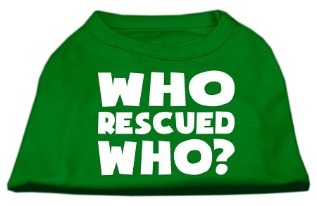 Who Rescued Who Screen Print Shirt Green Sm