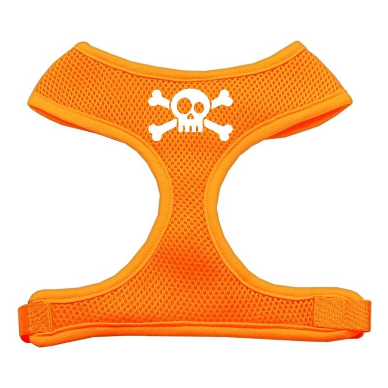 Skull Crossbones Screen Print Soft Mesh Pet Harness Orange Extra Large