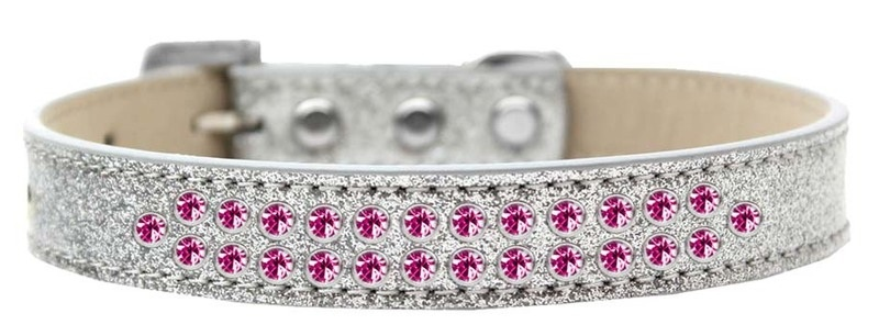Two Row Bright Pink Crystal Size 18 Silver Ice Cream Dog Collar
