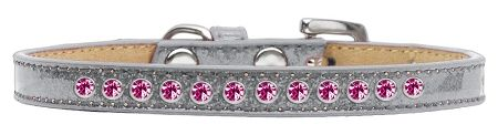 Bright Pink Crystal Size 16 Silver Puppy Ice Cream Collar