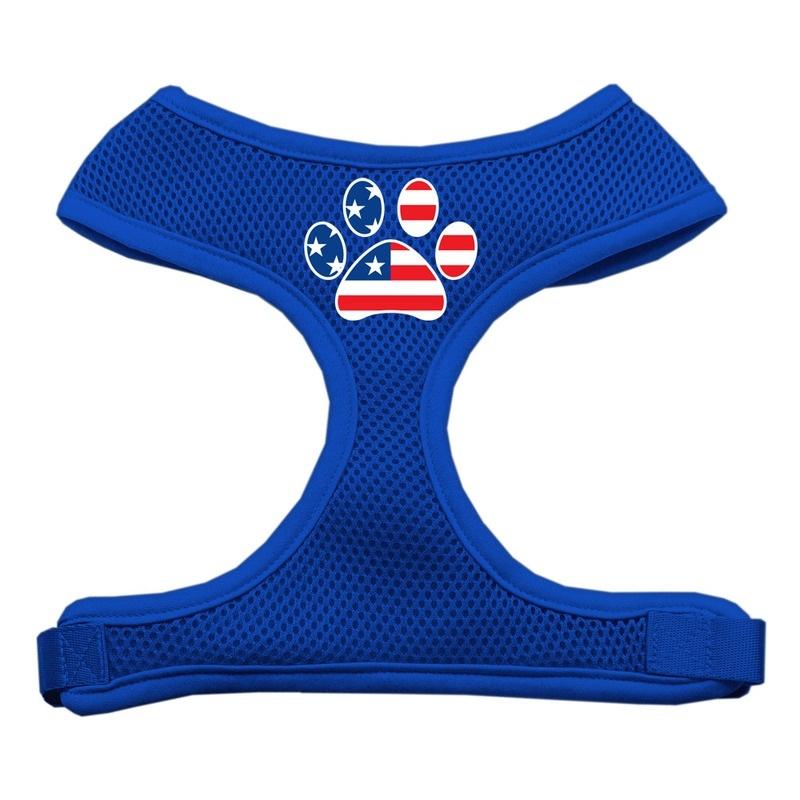 Paw Flag Usa Screen Print Soft Mesh Pet Harness Blue Small