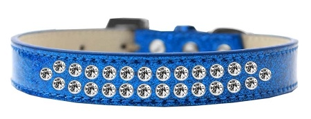 Two Row Clear Crystal Size 16 Blue Ice Cream Dog Collar