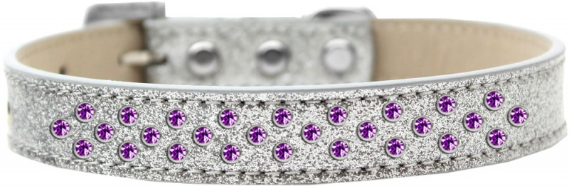 Sprinkles Dog Collar Clear Crystals Size 16 Red