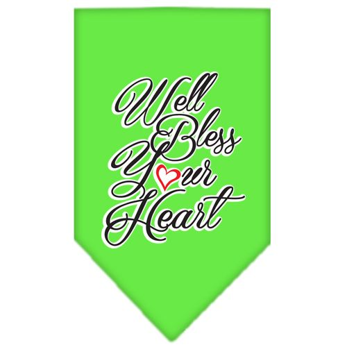 Well Bless Your Heart Screen Print Bandana Lime Green Large