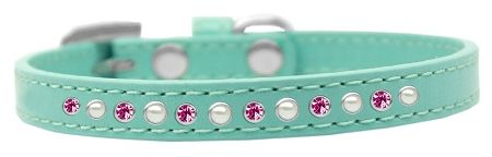 Pearl And Pink Crystal Size 14 Aqua Puppy Collar
