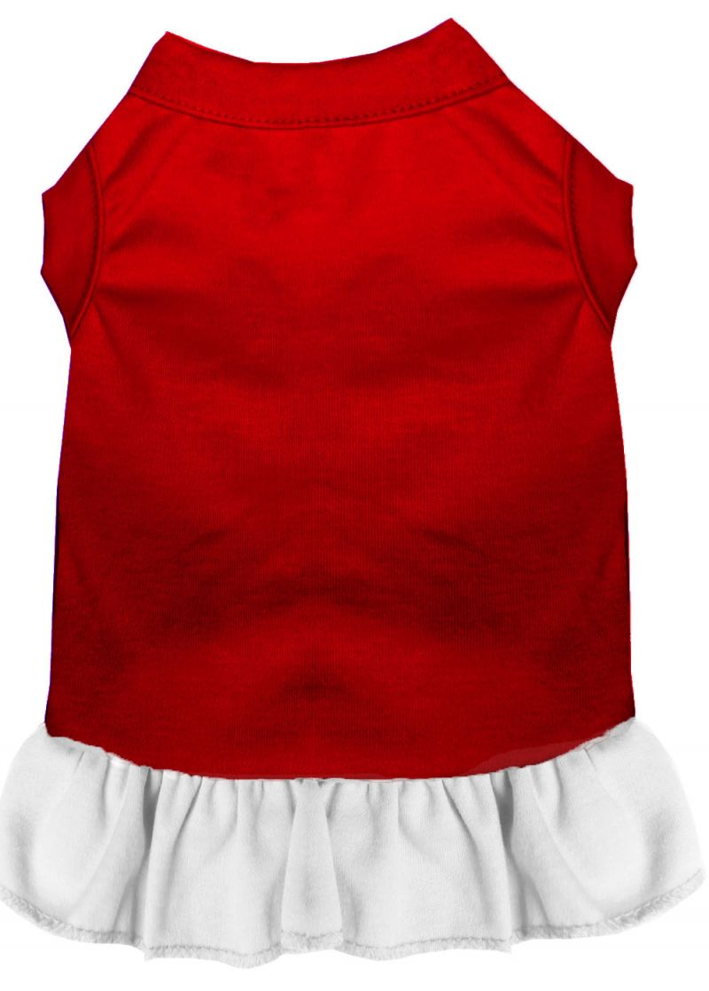 Plain Pet Dress Red With White Xl