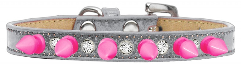 Crystal And Bright Pink Spikes Dog Collar Silver Ice Cream Size 16