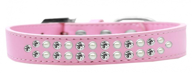 Two Row Pearl And Clear Crystal Size 12 Light Pink Dog Collar