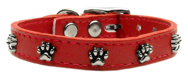 Paw Leather Dog Collar Red 22