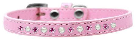 Pearl And Pink Crystal Size 16 Light Pink Puppy Collar