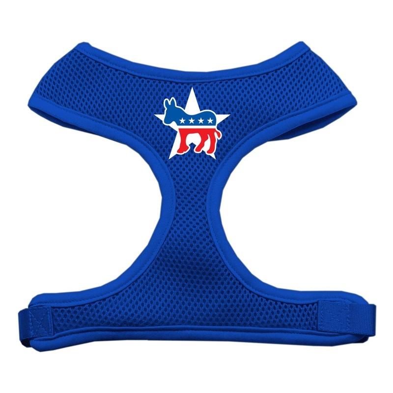 Democrat Screen Print Soft Mesh Pet Harness Blue Medium