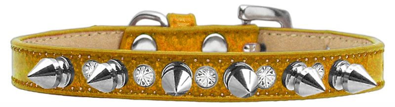 Crystal And Silver Spikes Dog Collar Gold Ice Cream Size 14