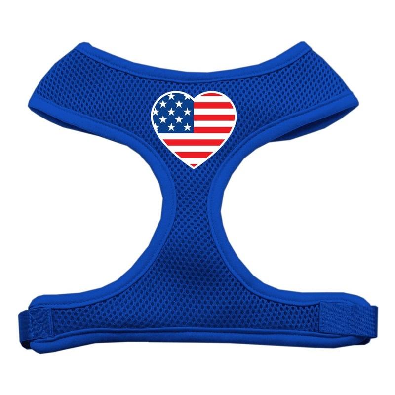 Heart Flag Usa Screen Print Soft Mesh Pet Harness Blue Extra Large