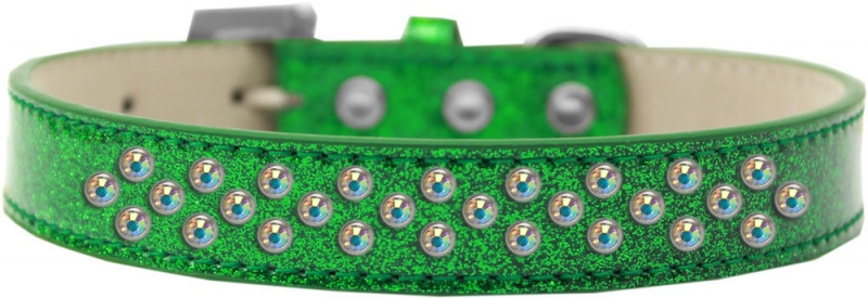 Two Row Lime Green Crystal Size 18 Silver Ice Cream Dog Collar