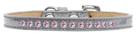 Light Pink Crystal Size 16 Silver Puppy Ice Cream Collar