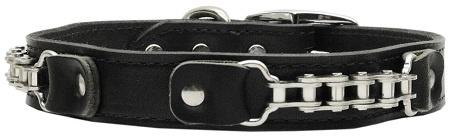 Bike Chain Leather Dog Collar Black 24