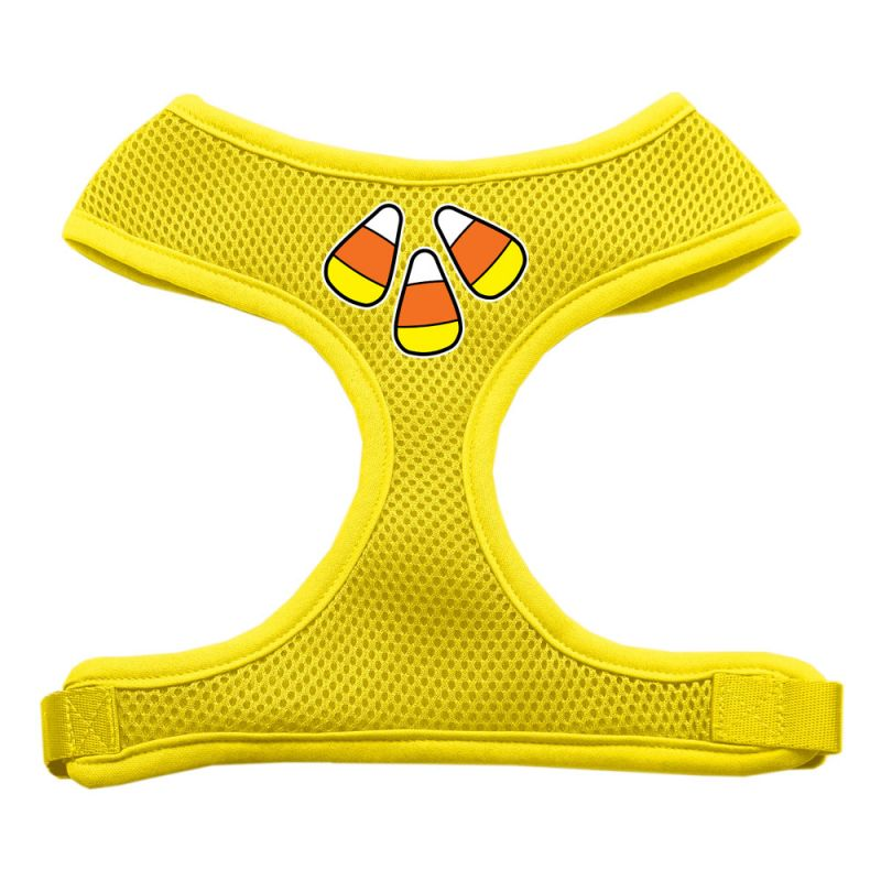Candy Corn Design Soft Mesh Pet Harness Yellow Extra Large