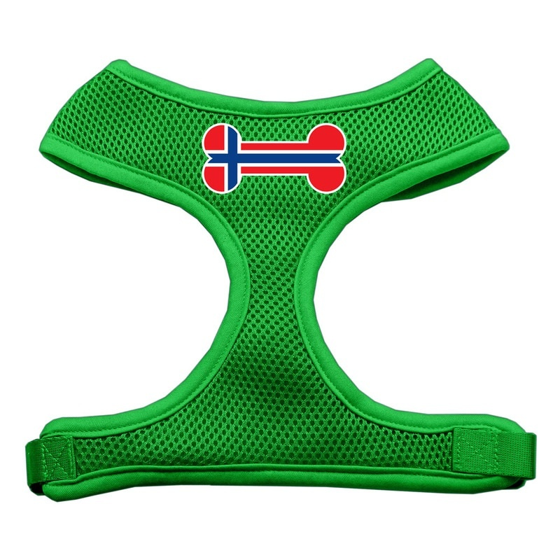 Bone Flag Norway Screen Print Soft Mesh Pet Harness Emerald Green Small