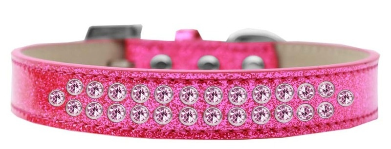 Two Row Light Pink Crystal Size 16 Pink Ice Cream Dog Collar