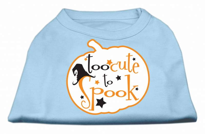 Too Cute To Spook Screen Print Dog Shirt Baby Blue Med